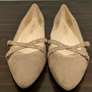 Nine West Minxy Tan Criss Cross Buckle Flat